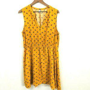 Old Navy Yellow V-Neck Sleeveless Floral Dress XL